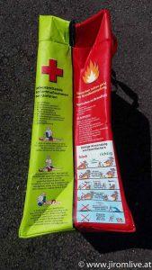 Bevorratungstasche mit Tipps zur Sicherheit und Krisenvorsorge seitlich