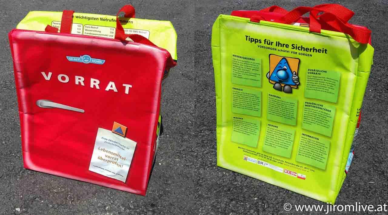 Bevorratungstasche mit Tipps zur Krisenvorsorge
